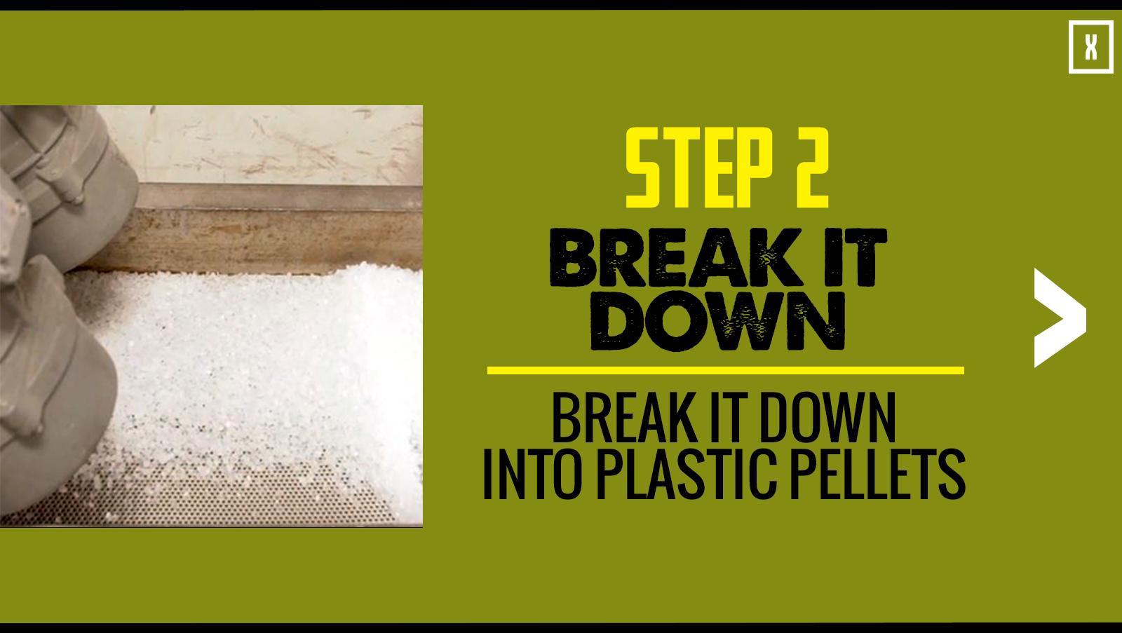 Step 2: Break it down into plastic pellets