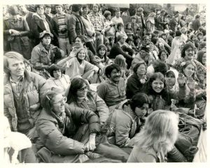 "Cal Poly Pomona students on Colorado Ave awaiting their float ""Grin And Bear It"" in 1978."