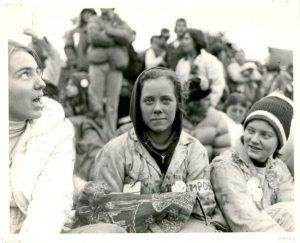 Three Cal Poly Rose Float members at the Rose Parade in 1978.