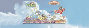 """Illustration of the 2018 Cal Poly Universities' Rose Parade float """"Dreams Take Flight"""""""