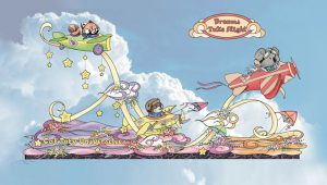 "Illustration of the 2018 Cal Poly Universities' Rose Parade float ""Dreams Take Flight"""