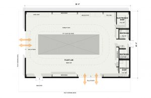 The floorplan of the new Rose Float Lab that is scheduled to break ground in 2018
