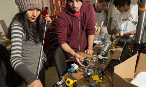 Leslie Montes and Chris Chang, both aerospace engineering students, put together the piping for Bronco 1.
