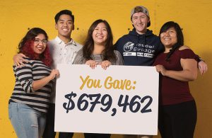 """Cal Poly Pomona students holding a sign that says """"You gave $679,462."""""""