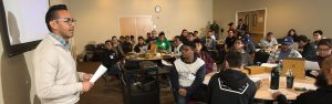 Saul Ramirez talks about financial aid to Project Success students at Cal Poly Pomona.