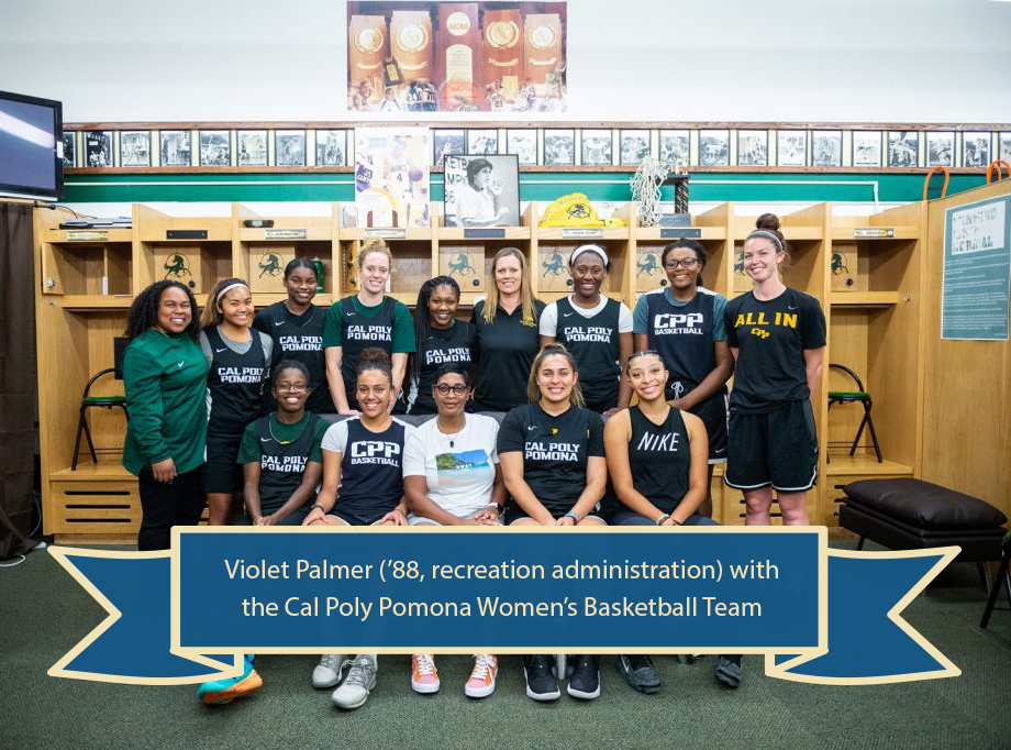 Violet Palmer and CPP Women's Basketball Team